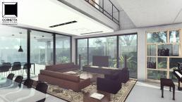 sala estar, cornetta, arquitetura, casas premoldadas, casas prefabricadas, concreto aparente, alto padrão