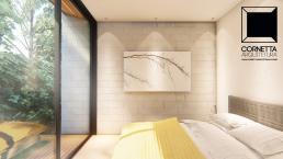 suites, blocos aparentes, madeira, vidro, jardim, deck
