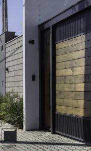 fachada, acesso, casas modernas, pinus tratado, eucalipto
