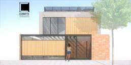 arquitetura, casa premoldada, prefabricada, concreto aparente, fachada, sobrado