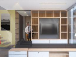 cornetta, arquitetura, pré fabricação, sala, estar, concreto polido, cimento queimado, planta integrada, loft