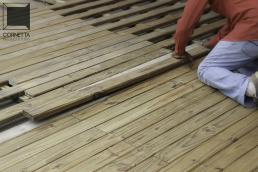 cornetta, deck, madeira, madeira tratada, pinus