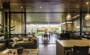 loft, varanda, ambientes integrados, madeira, cozinha conjugada