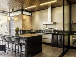 varanda gourmet, cozinha integrada, madeira, casa térrea