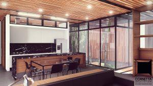 cornetta arquitetura, architecture, prefab, ambientes integrados, ambientes conjugados, casas alto padrão, madeira, concreto aparente, jardim de inverno