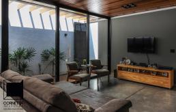 cornetta arquitetura, casas modernas, casa térrea, telhado metalico, piso de concreto, sala de estar