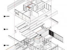 cornetta arquitetura, architecture, axonometrica, explodida, perspectiva, desenho técnico, casas prefabricadas, pré-moldados