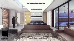 ambientes abertos, integrados, conjugados, varanda, cornetta, arquitetura, casas premoldadas, casas prefabricadas, concreto aparente, alto padrão