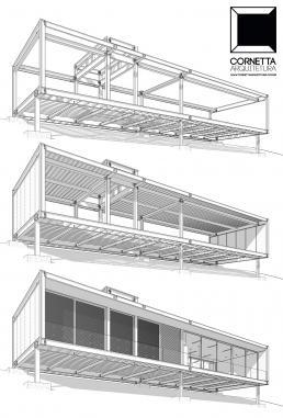 cornetta arquitetura, casas estruturas metalicas, estrutura metalica, loft, lofts, encosta, declive, declividade, bim, revit