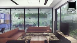 ambientes conjugados, cornetta, arquitetura, casas premoldadas, casas prefabricadas, concreto aparente, alto padrão