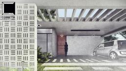 cornetta, arquitetura, casas premoldadas, casas prefabricadas, concreto aparente, alto padrão, pergolado, garagem
