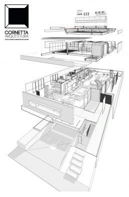 casas modernas, casas prefabricadas, revit, bim, explodida, axonometrica, perspectiva, projeto