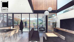 cornetta arquitetura, casas modernas, estrutura metalica, estruturas metalicas, sala, estar, pe direito, madeira, vidro