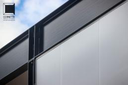 detalhe construtivo, cornetta arquitetura, casa, estrutura metalica, painel metalico, fachada, vedação, steel, house, prefab