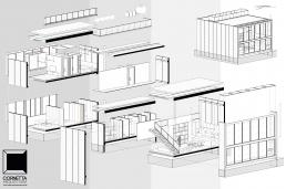 arquitetura, desenho, axonométrica, isométrica, explodida, bim, revit