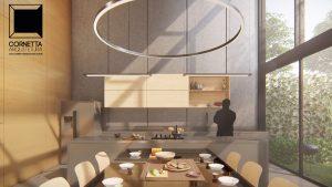 cornetta arquitetura, architecture, prefab, pre moldados, concreto aparente, jantar, cozinha, ambientes integrados