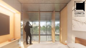 cornetta arquitetura, architecture, prefab, pre moldados, concreto aparente, suite, madeira