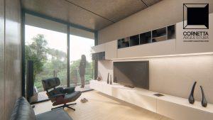 cornetta arquitetura, architecture, prefab, pre moldados, concreto aparente, home, tv, filme, estar, sacada