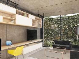 cornetta arquitetura, projetos, arquitetura, casas modernas, pré moldados, concreto aparente, loft, sala, jardim vertical