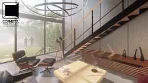 cornetta arquitetura, architecture, prefab, pre moldados, concreto aparente, sala estar, pé direito duplo, lofts, decor, interiores