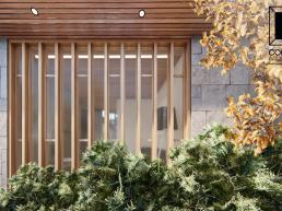 fachadas, casas térreas, madeira, vidro, pedra