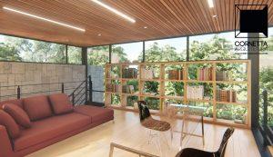 cornetta, casas modernas, lofts, mezanino, estrutura metálica, madeira, vidro, lounge