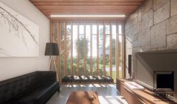 sala, estar, moderna, madeira, pedra, jardim, home