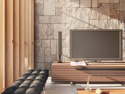 cornetta arquitetura, madeira, pedra, estar, home, aconchegante, concreto