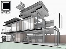 desenho, arquitetura, perspectiva, revit, bim, casas modernas, cornetta arquitetura, sobrado