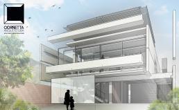 perspectiva, projeto, arquitetura, fachada, casas modernas, sobrados, cornetta arquitetura