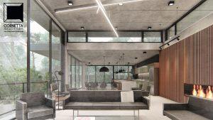 cornetta arquitetura, arquitetura, casas modernas, casas minimalistas, pré-moldados, concreto aparente, pé direito alto, madeira, lareira, ambientes conjugados