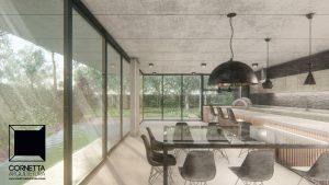 cornetta arquitetura, arquitetura, casas modernas, casas minimalistas, pré-moldados, concreto aparente, ambientes integrados, jantar