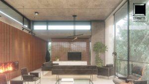 cornetta arquitetura, arquitetura, casas modernas, casas minimalistas, pré-moldados, concreto aparente, ambientes conjugados, estar
