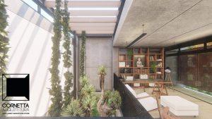 cornetta arquitetura, arquitetura, casas modernas, casas minimalistas, concreto aparente, pergolado, mezanino, jardim interno