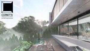 cornetta arquitetura, arquitetura, casas modernas, casas minimalistas, concreto aparente, fachada, lazer, deck, piscina,vidro