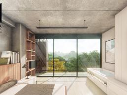 cornetta arquitetura, arquitetura, casas modernas, casas minimalistas, concreto aparente, suite, dormitprio, banheira, sacada