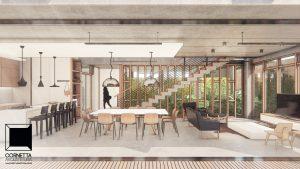 casas minimalistas, concreto aparente, vidro, jardim, varanda, madeira, deck, lofts