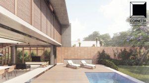 cornetta arquitetura, casas modernas, pré fabricados, concreto aparente, madeira, vidro, psobrado, lazer, varanda, integrados