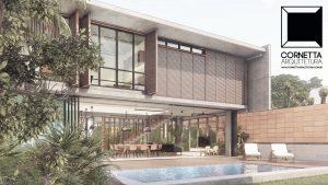 cornetta arquitetura, casas modernas, pré fabricados, concreto aparente, madeira, vidro, lazer, varanda, deck, piscina
