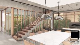 cornetta arquitetura, casas modernas, pré fabricados, concreto aparente, madeira, vidro, ambientes integrados, jardim interno