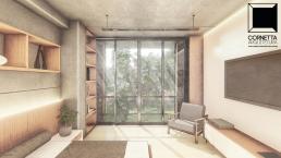 cornetta arquitetura, casas modernas, pré fabricados, concreto aparente, madeira, vidro, suite, dormitorio