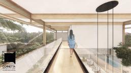 cornetta arquitetura, arquitetura, architecture, casas modernas, concreto aparente, madeira laminada colada, mlc, passarela