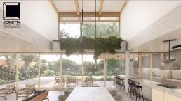 cornetta arquitetura, arquitetura, architecture, casas modernas, concreto aparente, madeira laminada colada, mlc, jantar, pé direito alto