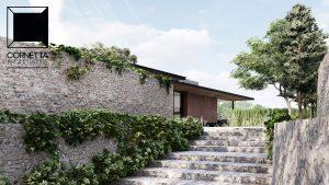 jardim, alvenaria, pedra, aparente, rustico