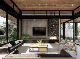 salas, estar, madeira, aço, concreto, vidro