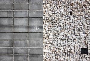 parede, alvenaria, blocos aparentes, concreto aparente, mosaico, pedra, portuguesa