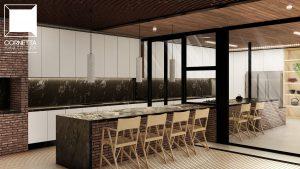 varanda goumet, integrada, deck, piscina, cozinha, ilha