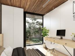 concreto aparente, suite, dormitorio moderno