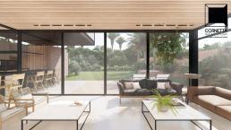 cornetta arquitetura, casas pre fabricadas, estrutura metalica, casas em estrutura metálica, ambientes conjugados, sala, living, madeira