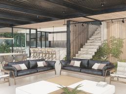 cornetta arquitetura, arquitetura, casas modernas, estrutura metalica, sala, estar, living, integrados